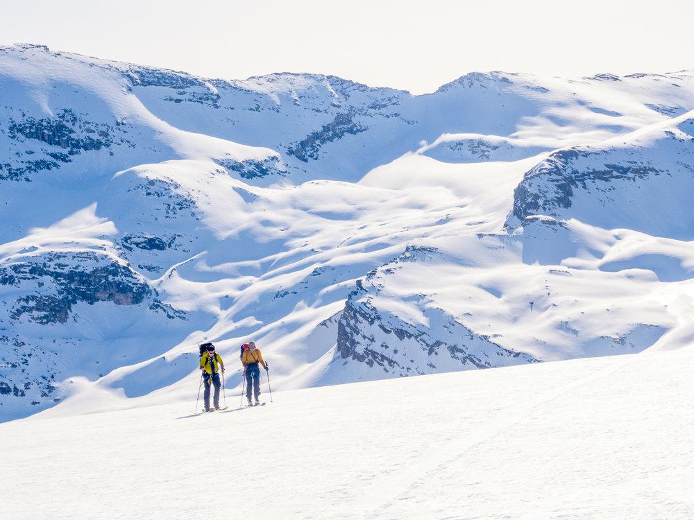 Glacier ski traverse with good friends. Photo: Pat Bates