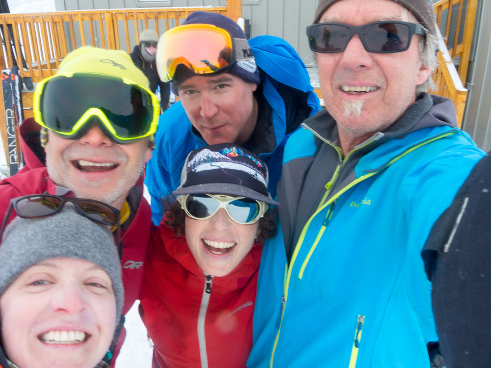 I'm so fortunate to have shared trail time with the awesome team of Alison Criscitiello (centre), Pat Bates (top), Ellorie McKnight (bottom left), Kyle Taylor (right) and Don Vockeroth (not shown). That's me with the yellow goggles. Photo: Pat Bates