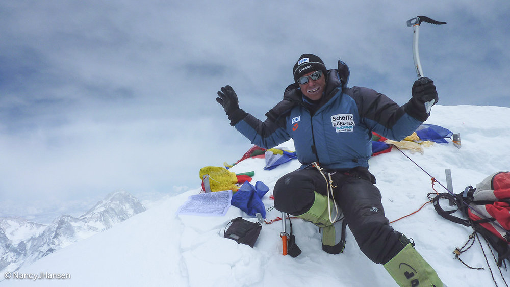 Ralf Dujmovits looking relaxed on his final 8,000 m peak, Lhotse (8,516 m) in 2009. Photo: Ralf Dujmovits collection.
