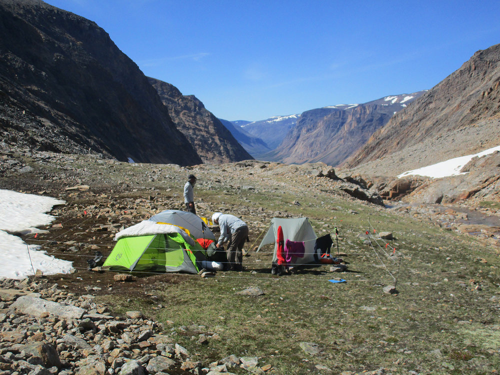One of our campsites in the gorge of the thousand waterfalls. Note the portable electric fence around camp. Photo:Paul Denys