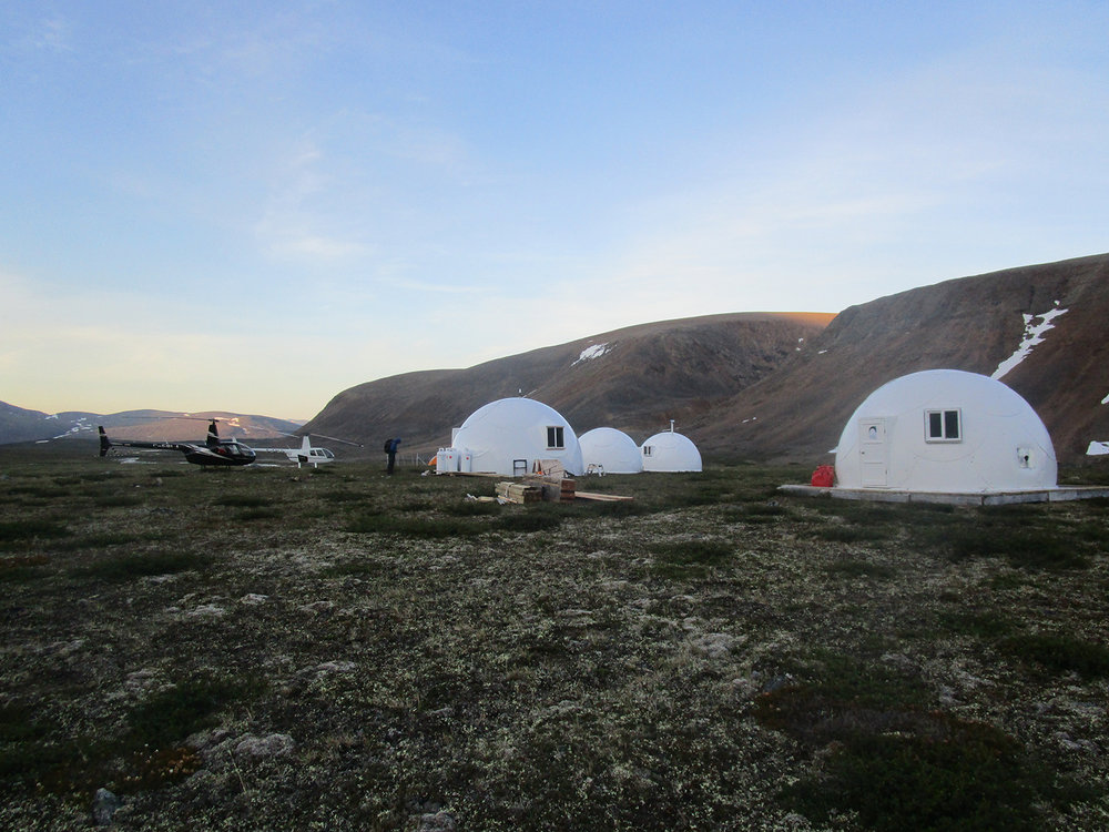 Torngat interior Base Camp. The hardshell domes are permanent structures for guided parties. Photo: Deb Clouthier