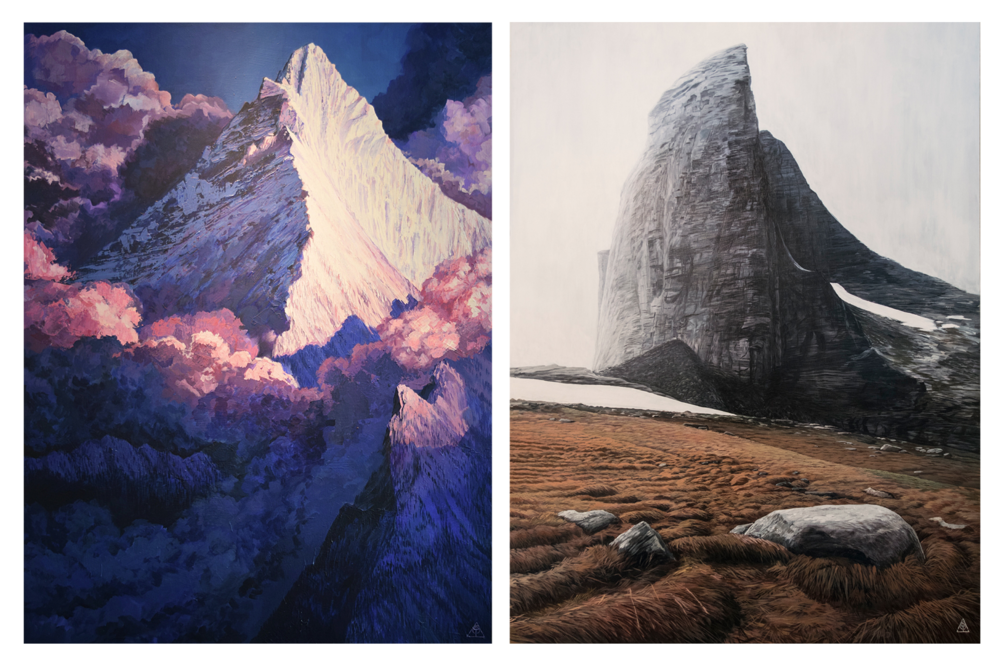 "Fisher Peak: Acrylic on wood, 36"" x 48"" (left) and Mount Gimli: Acrylic on wood, 36"" x 48"" by Adam J. Temple.  Retail: $2,500 (each). Bidding begins at $1,250 (each)."