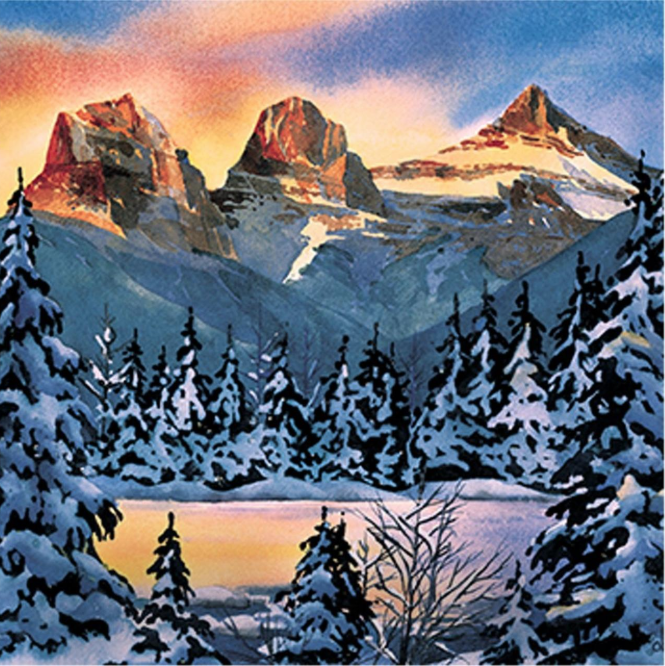 """Three Sisters Sunrise"" watercolour limited edition print by Louise Olinger. Retail: $290. Bidding starts at $145."