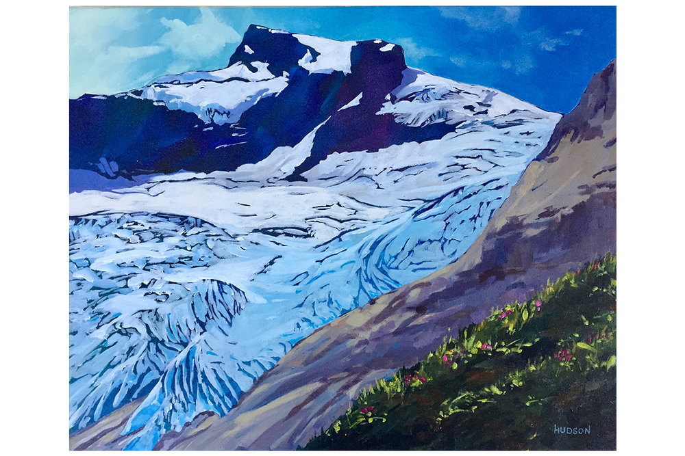 "Hallam Glacier. Acryllic on canvas, 16"" x 20"" [framed] by Phee Hudson. Retail: $1,500. Bidding starts at $750."