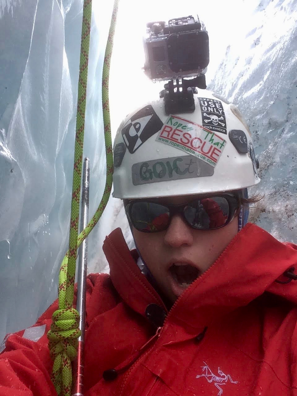 Rosemarie Smith in a glacier crevasse.