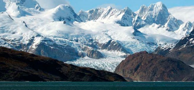 Cordillera Darwin from the Beagle Channel with many potential ski mountaineering options.