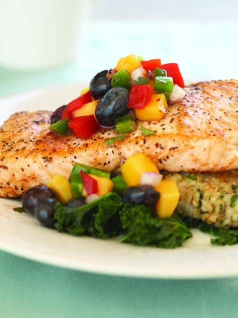 Salmon with Blueberry Mango Salsa