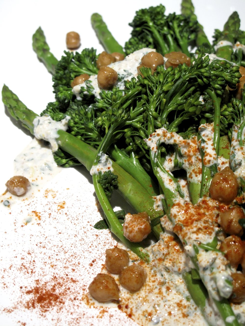 Broccolini and asparagus with spiced chick peas and garlic yogurt dressing.jpg