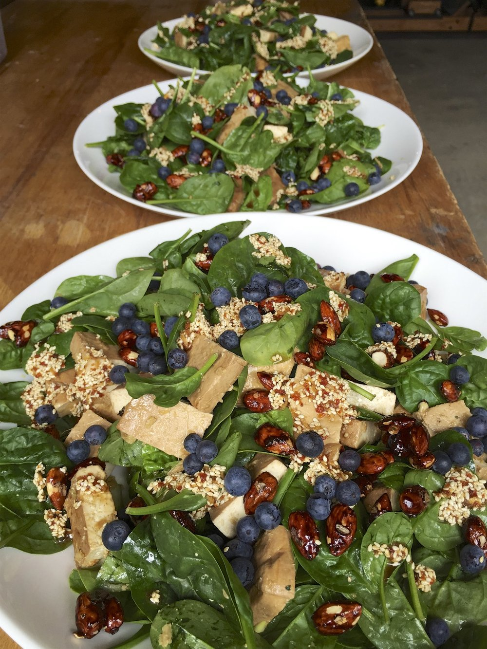 Roast ginger beer tofu, 5 spice maple almonds, _ginger sesame dressing, baby spinach, blueberries_.jpg