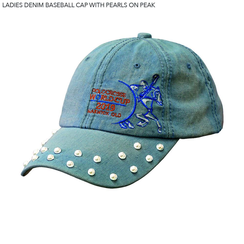 LADIES DENIM BASEBALL CAP WITH PEARLS ON PEAK .jpg