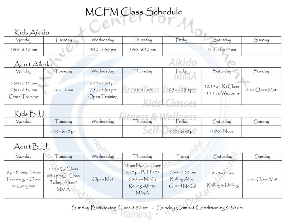 mcfm full schedule printable schedule midwest center for movement