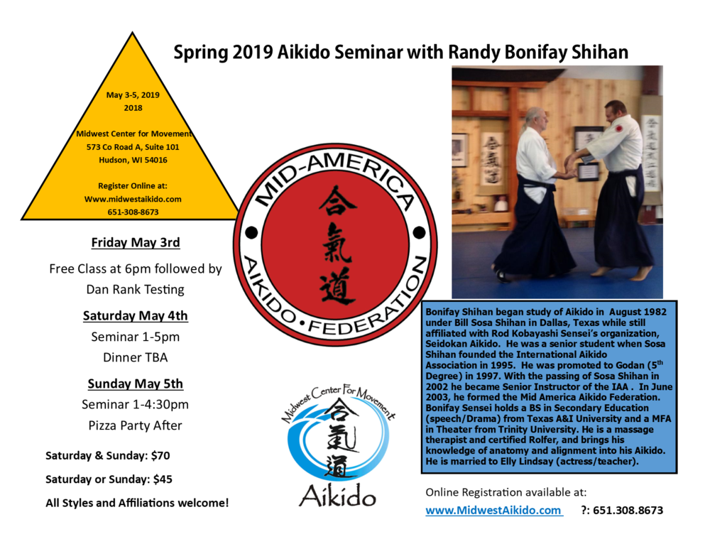 Spring Aikido Seminar May 3rd-5th  Friday: 6:00pm Short Class followed by Testing (as always Friday is free!)   Saturday: 1-5pm  $45   Sunday: 1-4:30pm  $45   Whole weekend: $70     REGISTER HERE