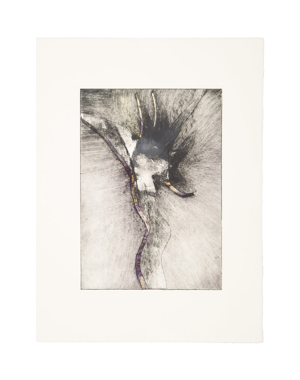 THE NYMPH  Monoprint/intaglio  Image: 7 x 9.9 inches  Paper: 11.25 x 15 inches  © 2008 Carol Morrison