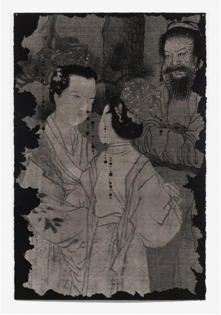 Unbretrothed 2 2018 chinese ink fire and giclee print 155 x 103 cm