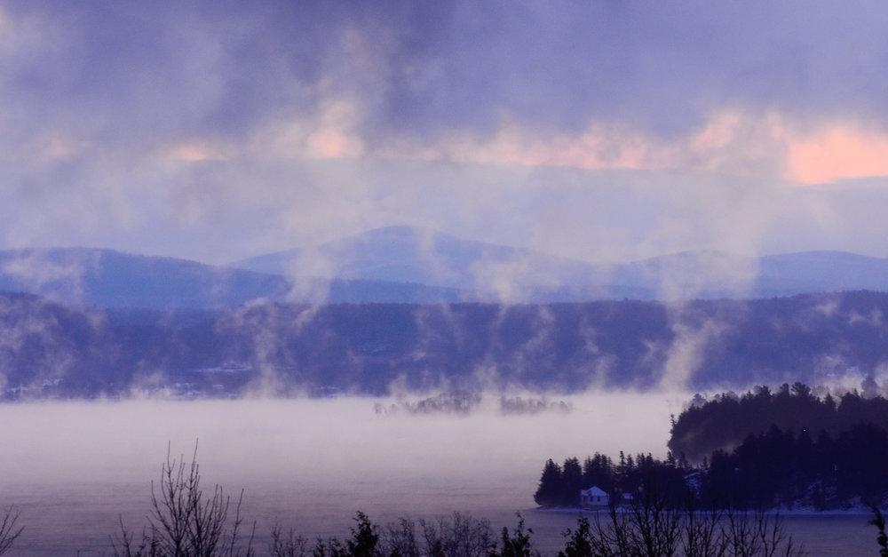 Steam over Lake Champlain