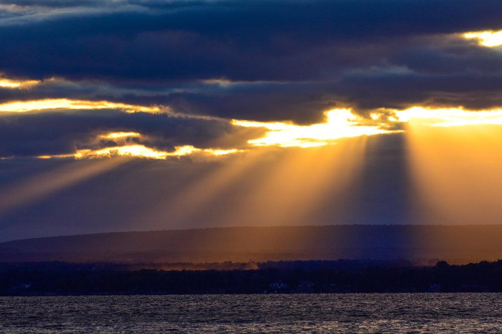 Rays of Sunlight over Lake Champlain