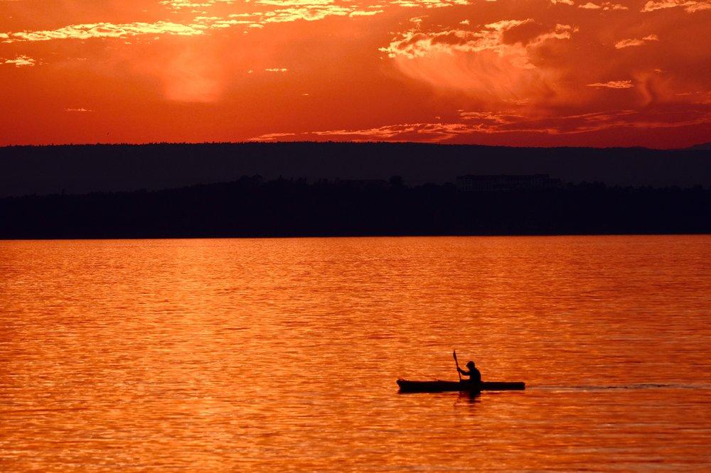 Kayaker on Lake Champlain at Sunset