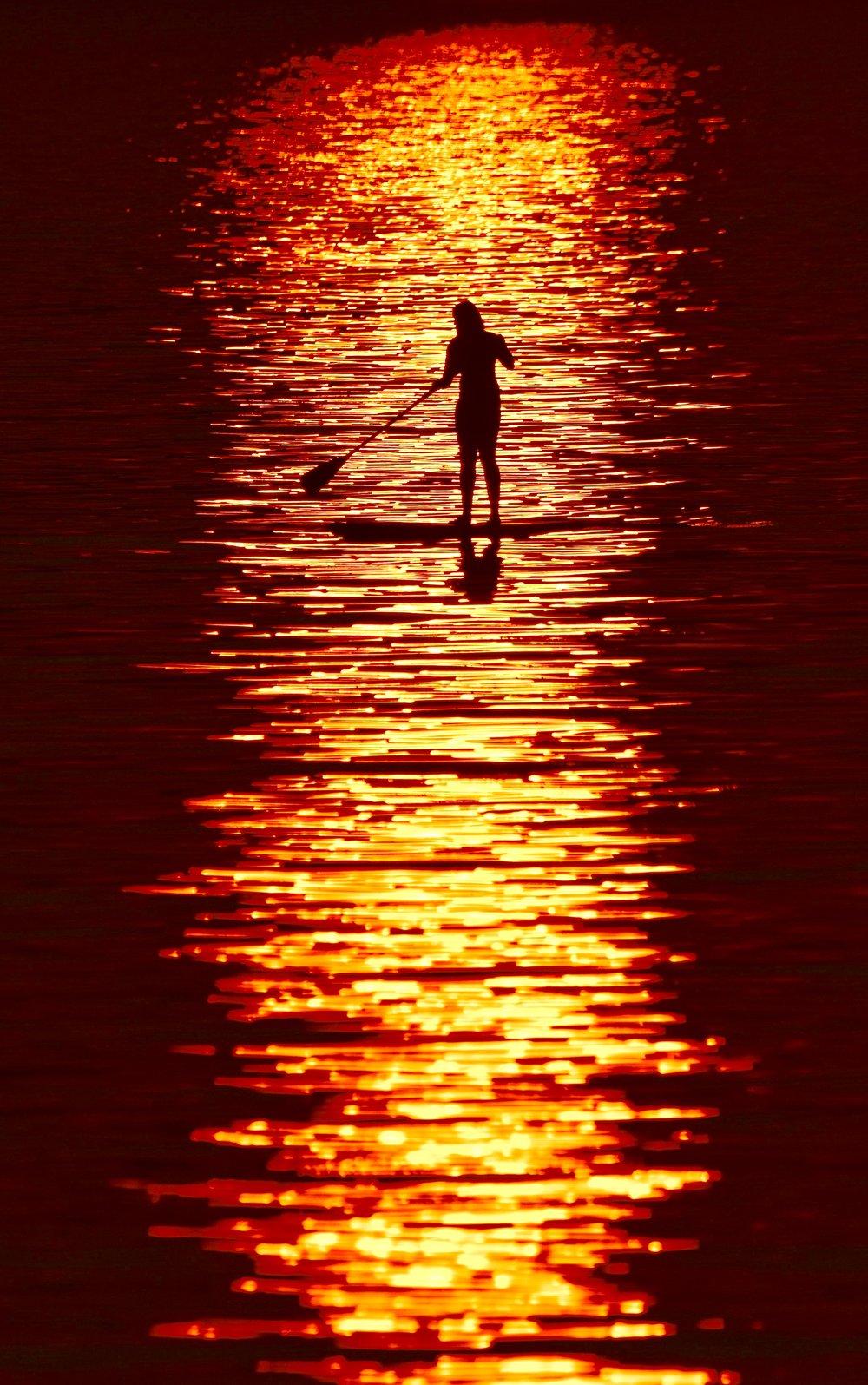 Paddleboarder on Lake Champlain at Sunset_1