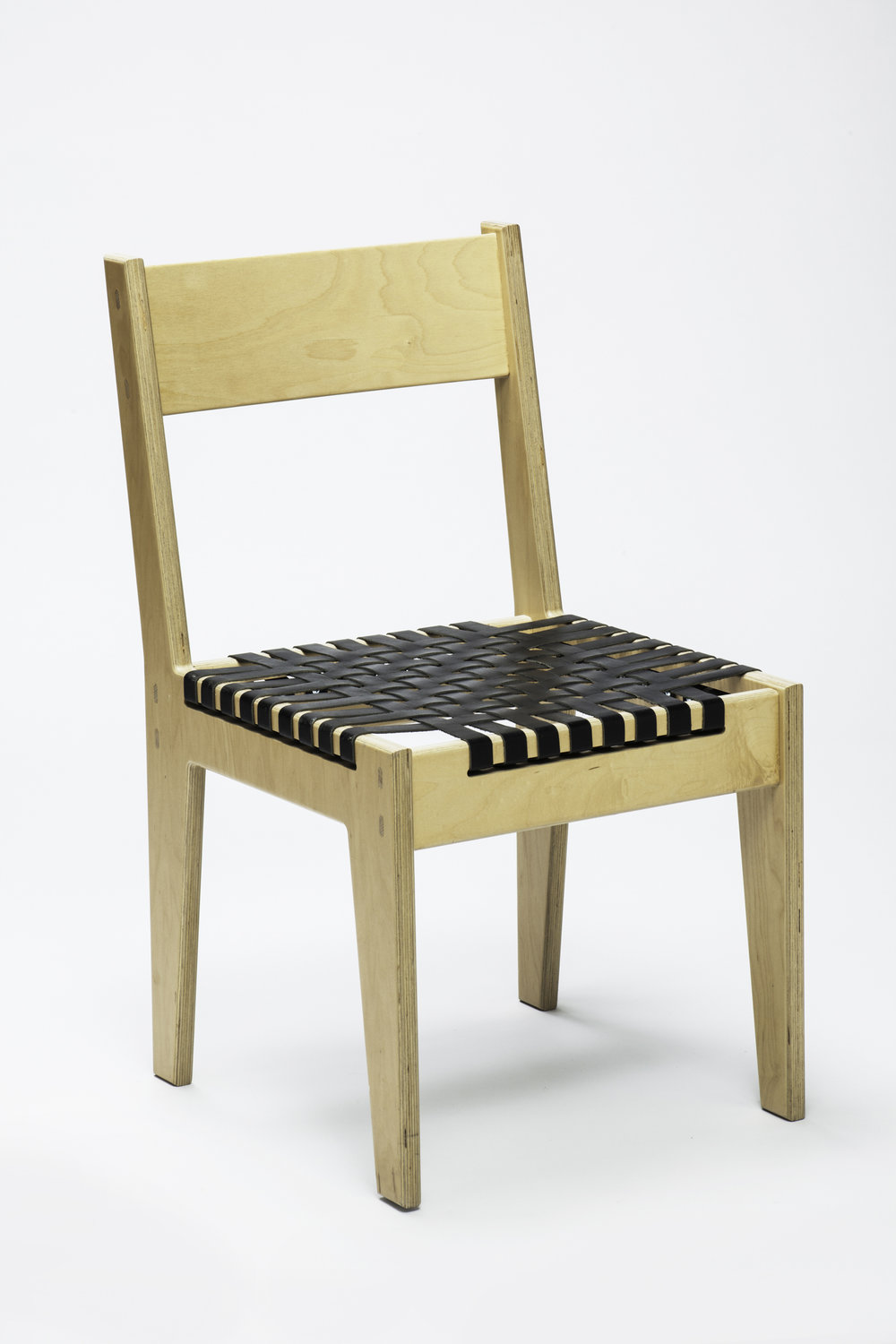 "Cherry Euro Plywood Chair <br> 1"" Woven Black Leather Seat"