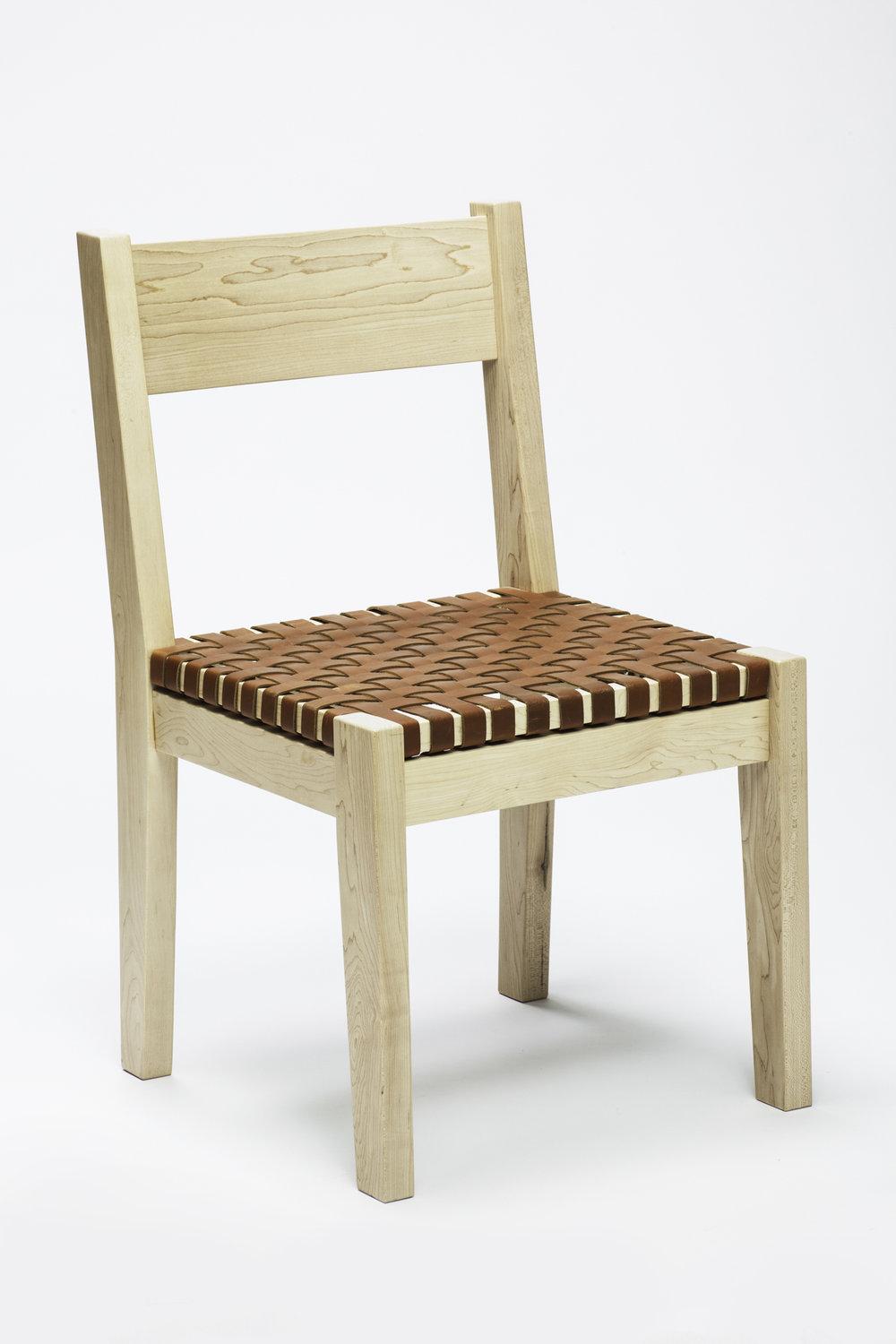 "Solid Maple Dining Chair<br>1"" Woven Red Leather Seat"