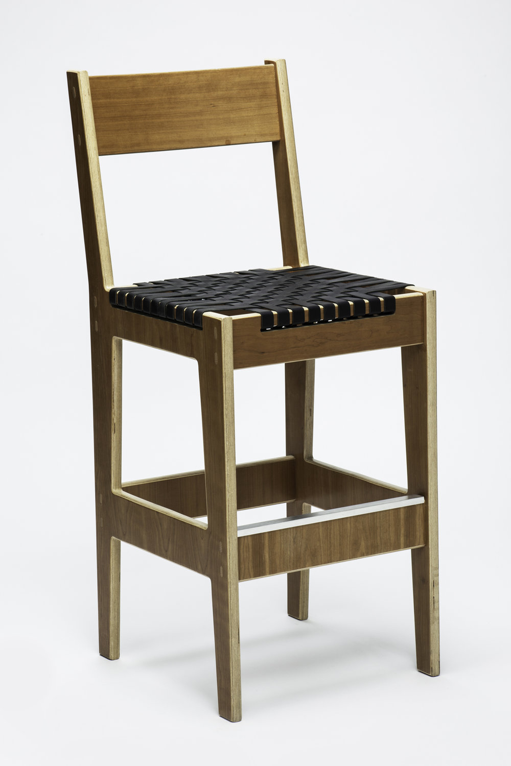 "Cherry Euro Plywood Barstool<br>1"" Black Leather Woven Seat"