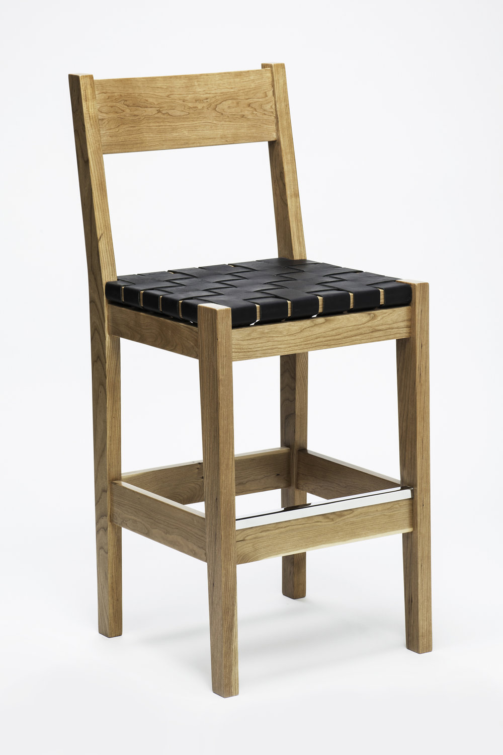 "Solid Maple Barstool<br>2"" Black Woven Leather Seat"