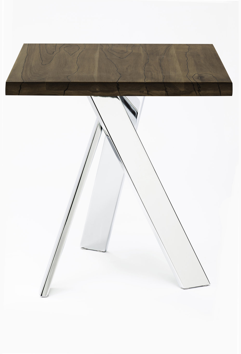 "24"" x 24"" x 30"" Dining/Restaurant Table<br>Solid Hickory with Chrome Plated Base"