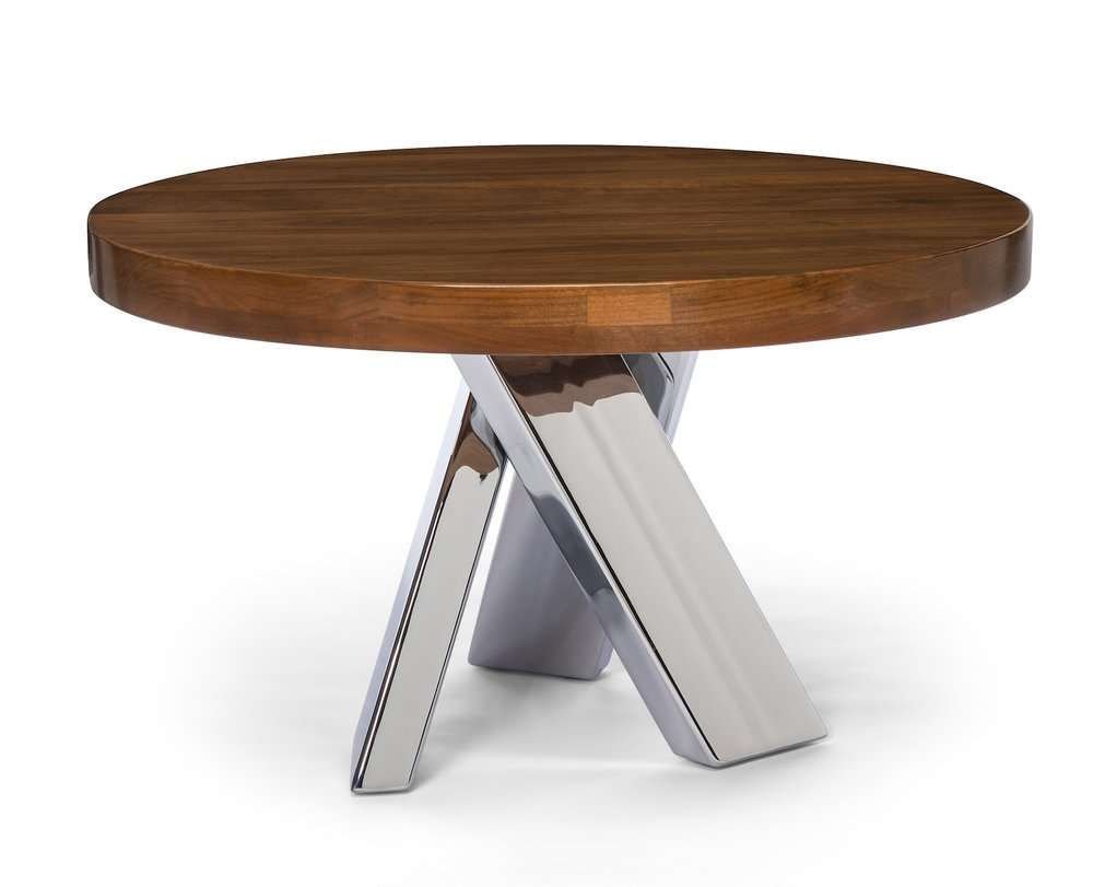 "Coffee / End Table. 24"" Round x 20"" High. Solid Walnut with Chrome Base."