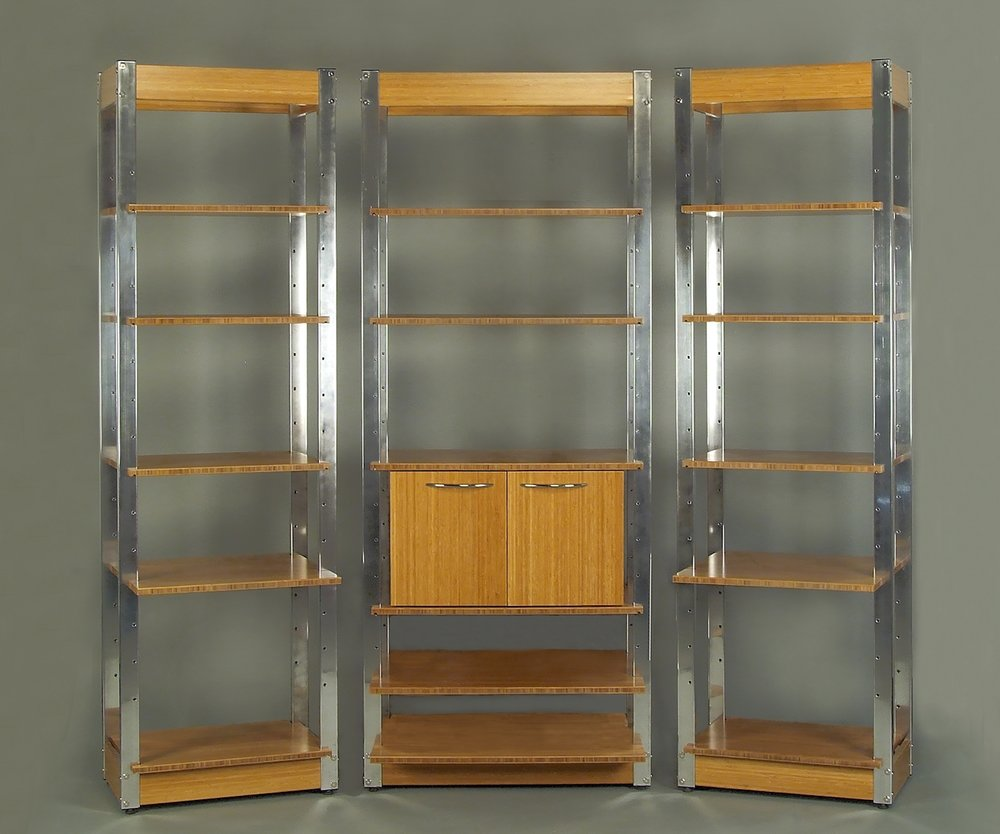 Modular Shelving. Polished Aluminum and Carmelized Bamboo.