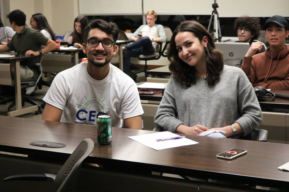 Former officer Erfan Bhuiyan, pictured with Vanessa Martinez at a general meeting