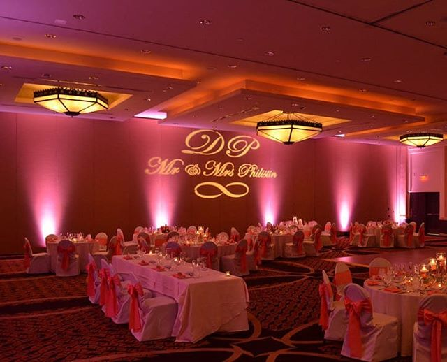 Monograms and uplighting! What a great room combo!