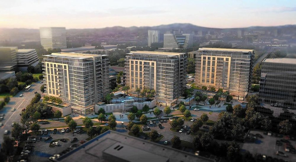 A rendering shows the three 13-story condominium towers proposed for the Koll Center Residences at 4400 Von Karman Ave. in Newport Beach. (Courtesy city of Newport Beach)