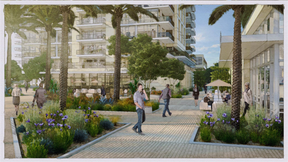 Plaza and public space rendering for Koll Center Residences