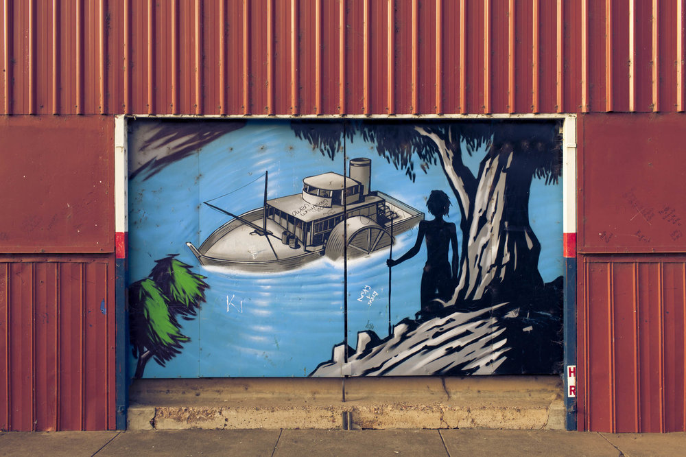 A mural in downtown Wilcannia, NSW shows the point of first contact for the local Barkindji Aboriginal people.