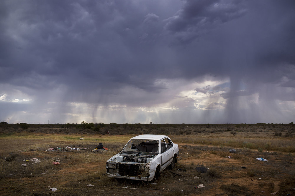 A rare rainstorm approaches Wilcannia, NSW, ultimately bypassing the town.