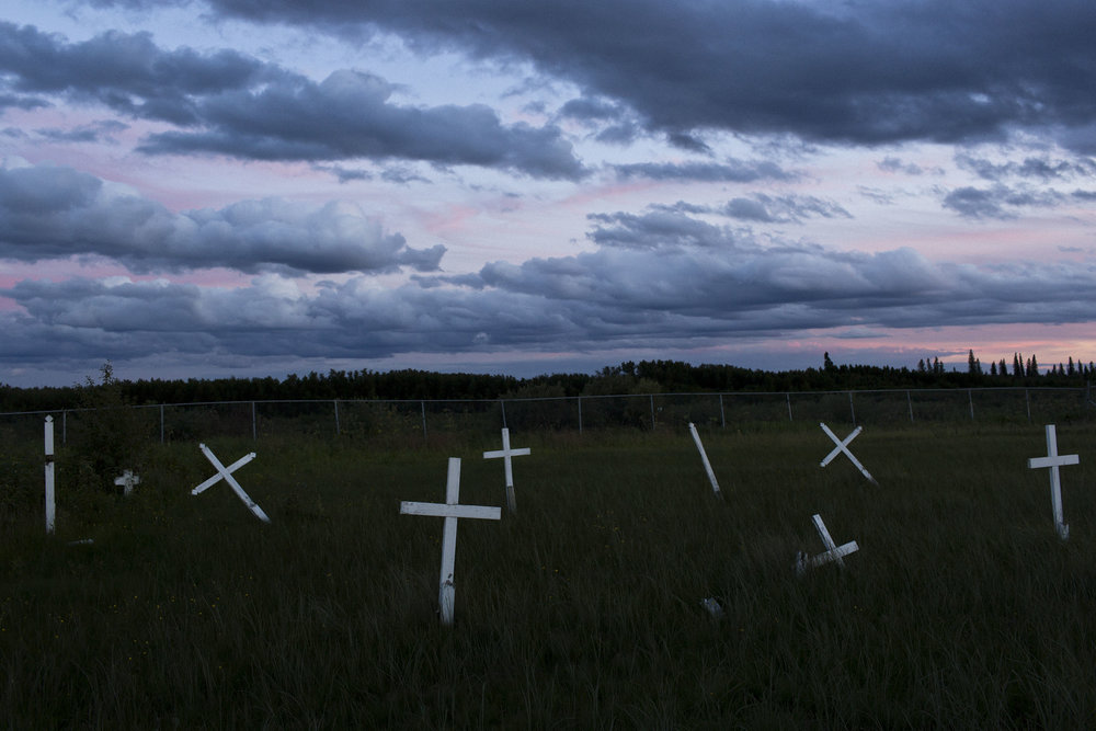 'People of the Parting Rocks' for The Pulitzer Centre on Crisis Reporting . The St. Mary's cemetary in Attawapiskat, Ontario.
