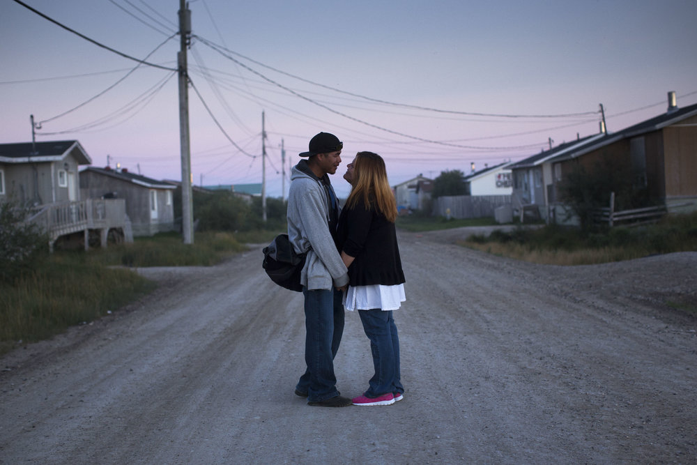 'People of the Parting Rocks' for The Pulitzer Centre on Crisis Reporting . A young couple in Attawapiskat, Ontario.