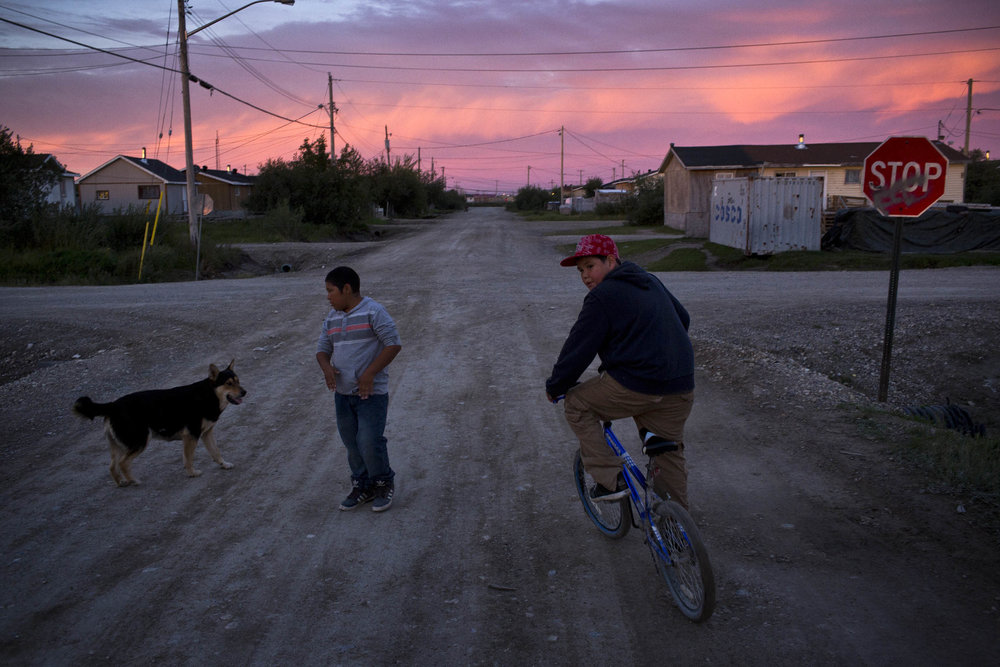 'People of the Parting Rocks' for The Pulitzer Centre on Crisis Reporting . Dusk in the Frist Nations community of Attawapiskat, Ontario.