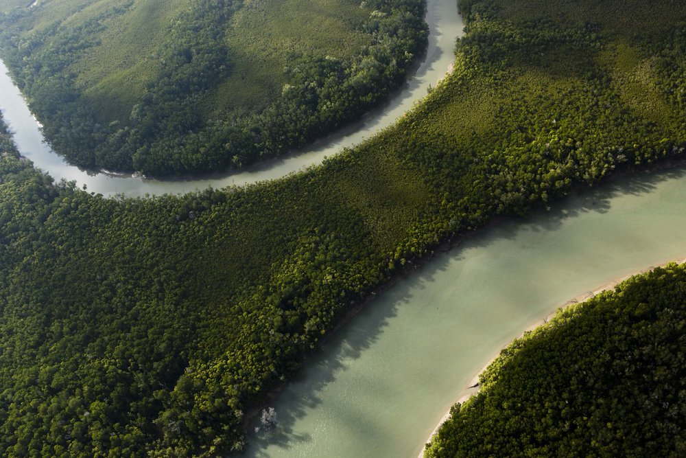 An aerial view of a winding river on Melville Island, Northern Territory.