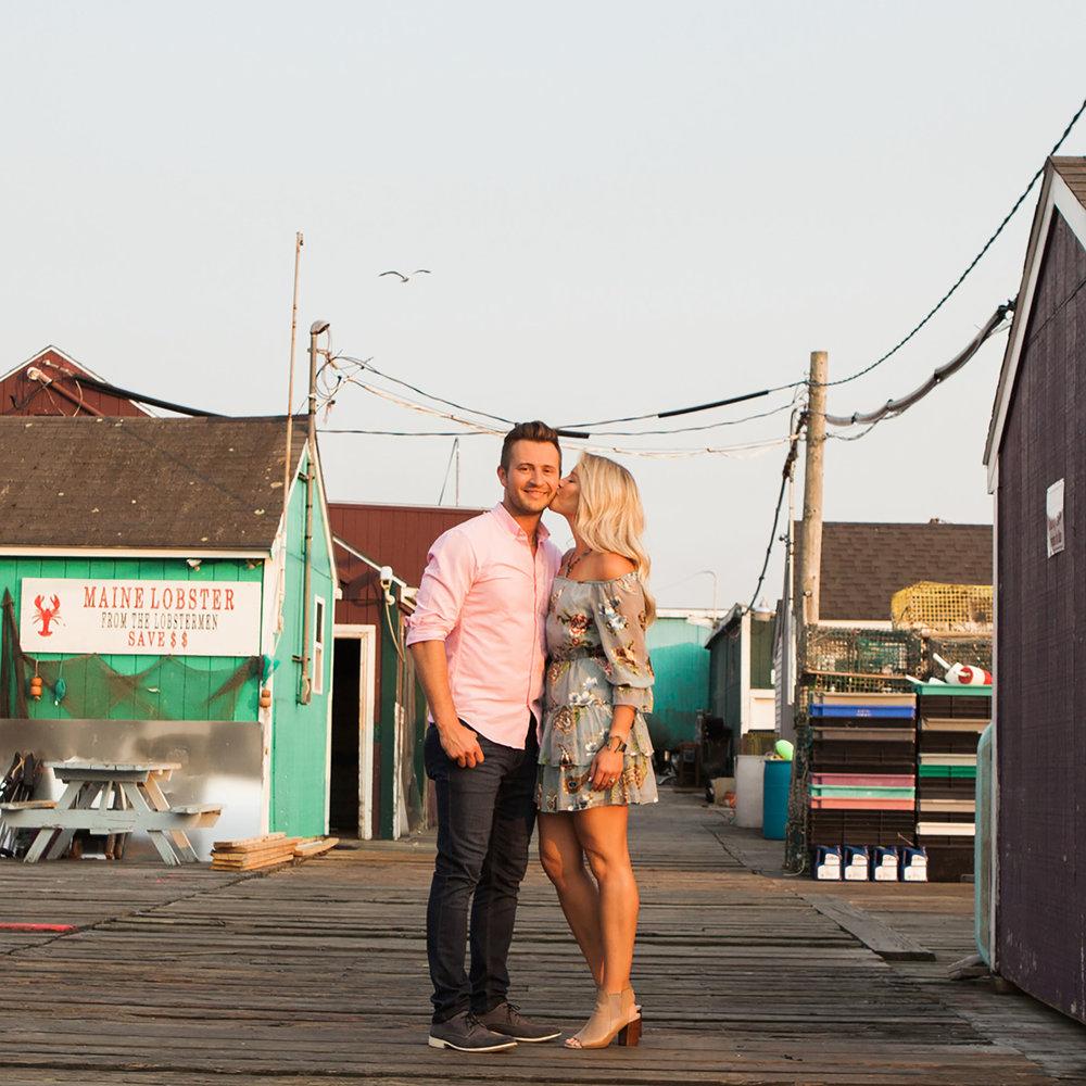 Maine unique photographer engagement lobster dock.jpg