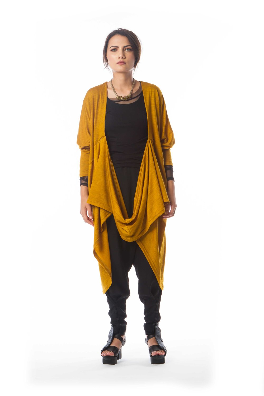 Essential Singlet + Mesh Shirt + Wrapture Cardigan + Origami Pant