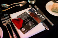 Our flyers displayed on the night, featuring our award winning Gabriella Gown, made from Australian Merino Wool.