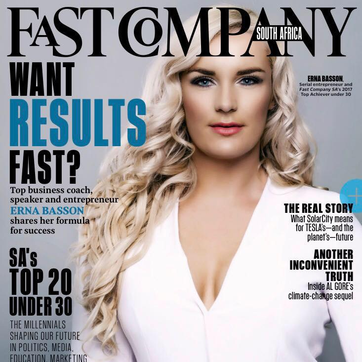 Erna Basson on the cover of Fast Company Magazine & named SA's top entrepreneur under30