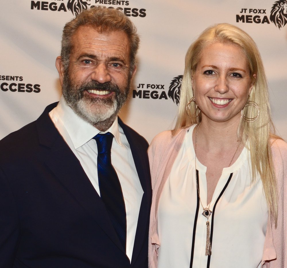 Emi Golding, Celebrity Psychologist, with Mel Gibson, Hollywood Actor, Director and Producer