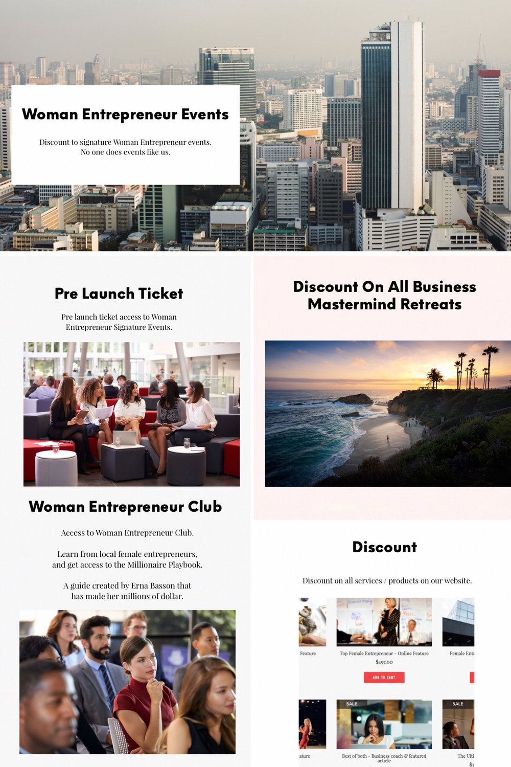 Benefits for Members of Woman Entrepreneur