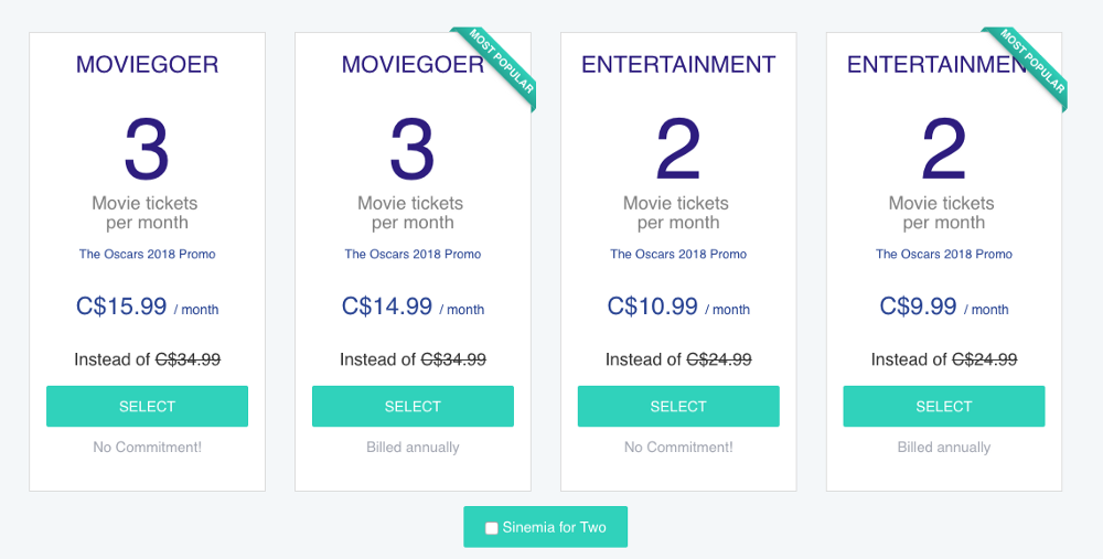 Click ' Sinemia For Two' if there's more than one of you.