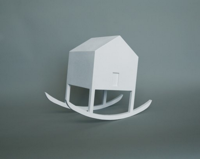 """The House As A Metaphor, is a series of conceptual-art sculptures that incorporate a simple symbolic shape of a house in each of the pieces. In some cases the title of the piece is very directly related to its finale form, and in others, the title and the form are more abstractly connected. In every case, the intention was to play with the image of the house, and have some fun with it."""