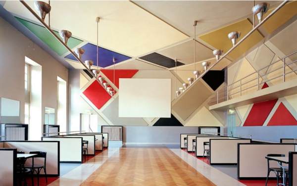 In 1926 Theo Van Doesburg, with artists Jean Arp and Sophie Taeuber, obtained the commission to refurbish the interior of a mid-eighteenth-century building to create Café Aubette— A large restaurant with a cinema and dancehalls.