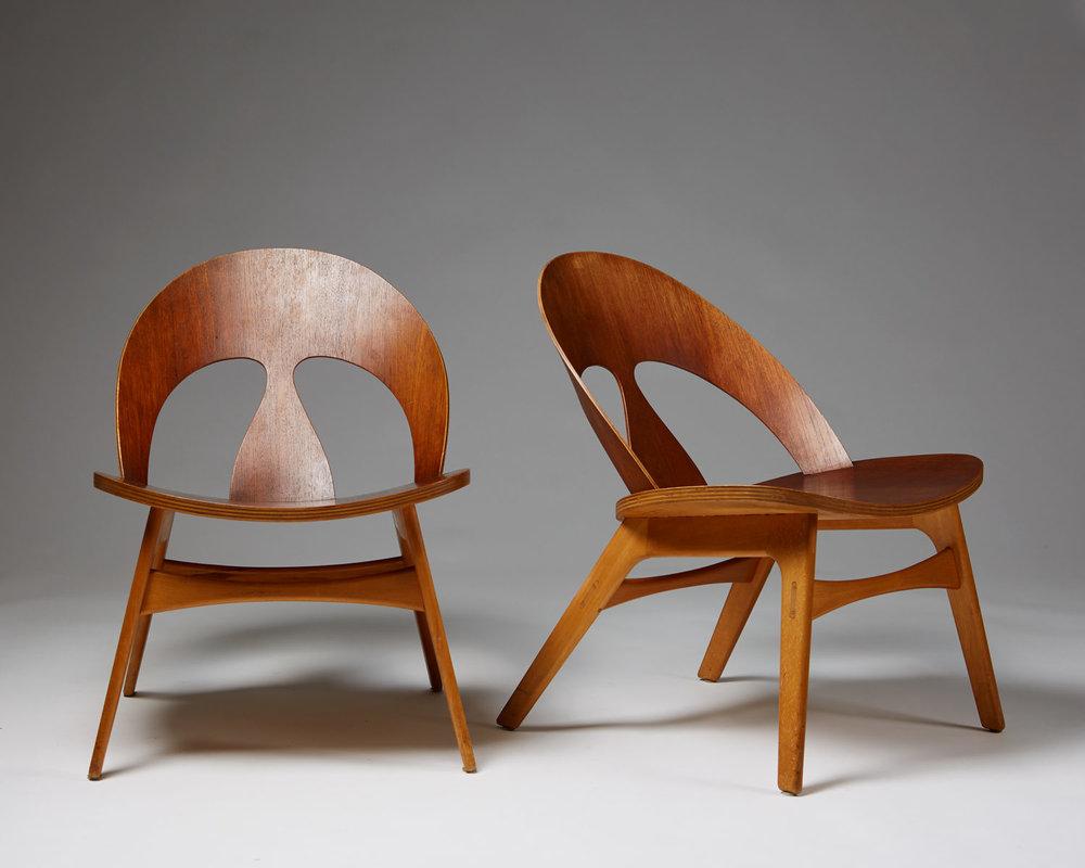 Pair of Shell chairs designed by Börge Mogensen for Erhard Rasmussen, Denmark. 1949.