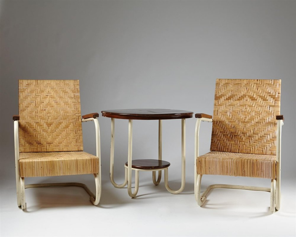 Table and armchairs, anonymous. Swedish. 1930's